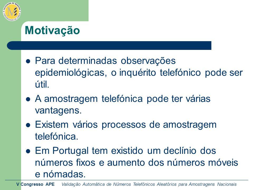 V Congresso APE Validação Automática de Números Telefónicos Aleatórios para Amostragens Nacionais Métodos: contactos Os contactos foram realizados por 2 entrevistadoras.