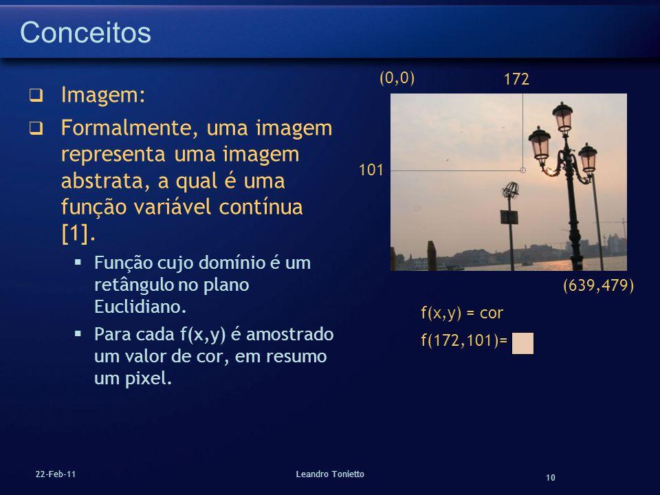 10 22-Feb-11Leandro Tonietto Conceitos Imagem: Formalmente, uma imagem representa uma imagem abstrata, a qual é uma função variável contínua [1]. Funç