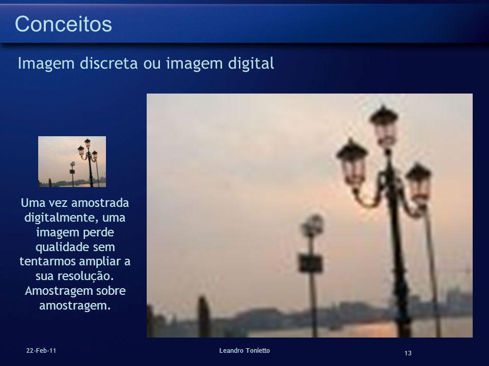 13 22-Feb-11Leandro Tonietto Conceitos Imagem discreta ou imagem digital Uma vez amostrada digitalmente, uma imagem perde qualidade sem tentarmos ampl