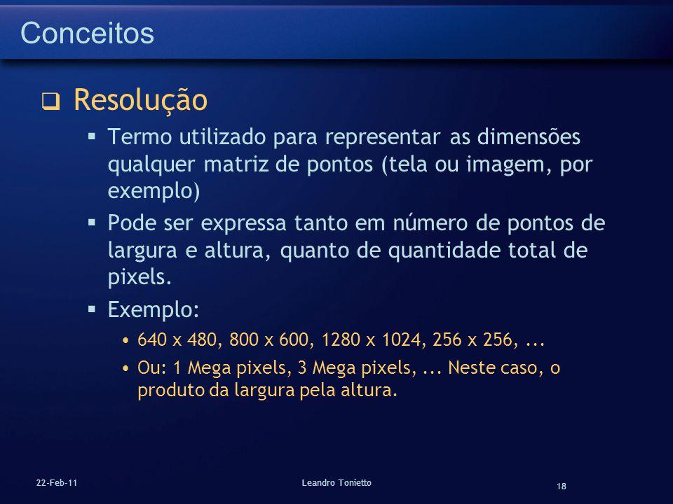 18 22-Feb-11Leandro Tonietto Conceitos Resolução Termo utilizado para representar as dimensões qualquer matriz de pontos (tela ou imagem, por exemplo)