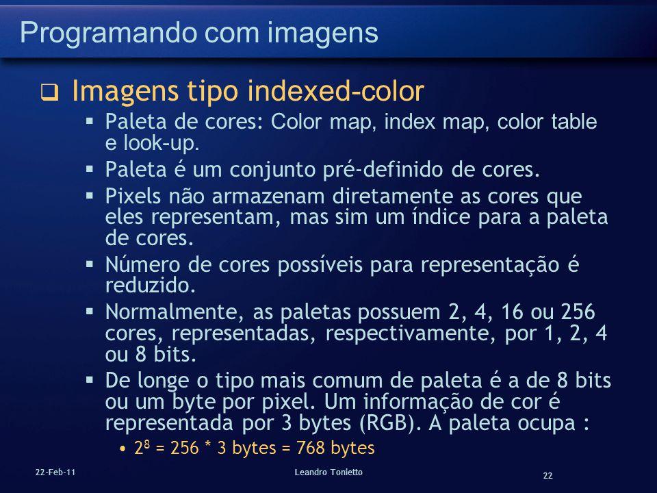 22 22-Feb-11Leandro Tonietto Programando com imagens Imagens tipo indexed-color Paleta de cores: Color map, index map, color table e look-up. Paleta é