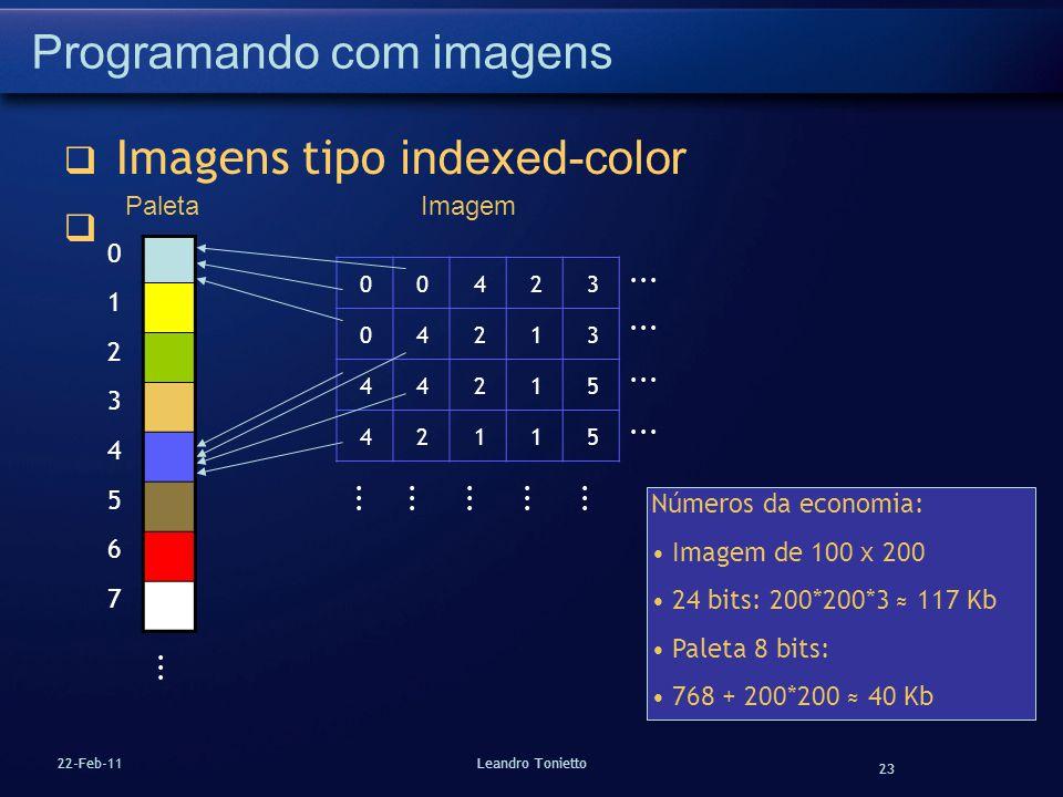 23 22-Feb-11Leandro Tonietto Programando com imagens Imagens tipo indexed-color 0 1 2 3 4 5 6 7... 00423 04213 44215 42115 PaletaImagem Números da eco