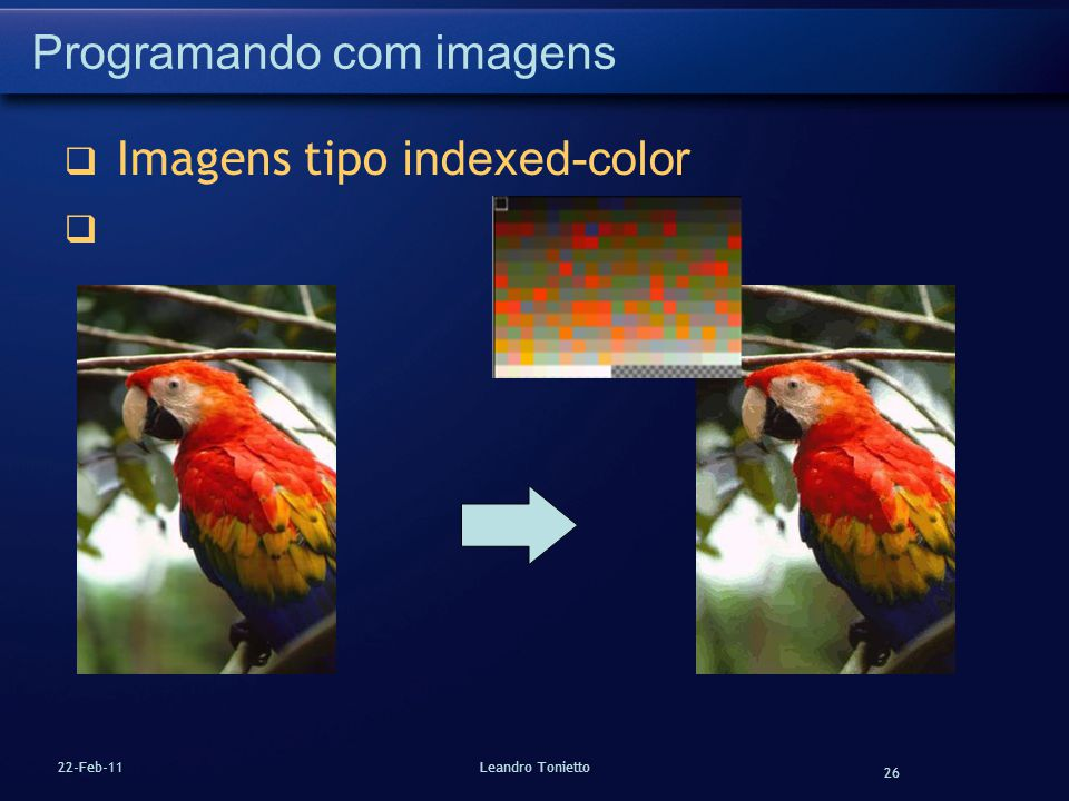 26 22-Feb-11Leandro Tonietto Programando com imagens Imagens tipo indexed-color