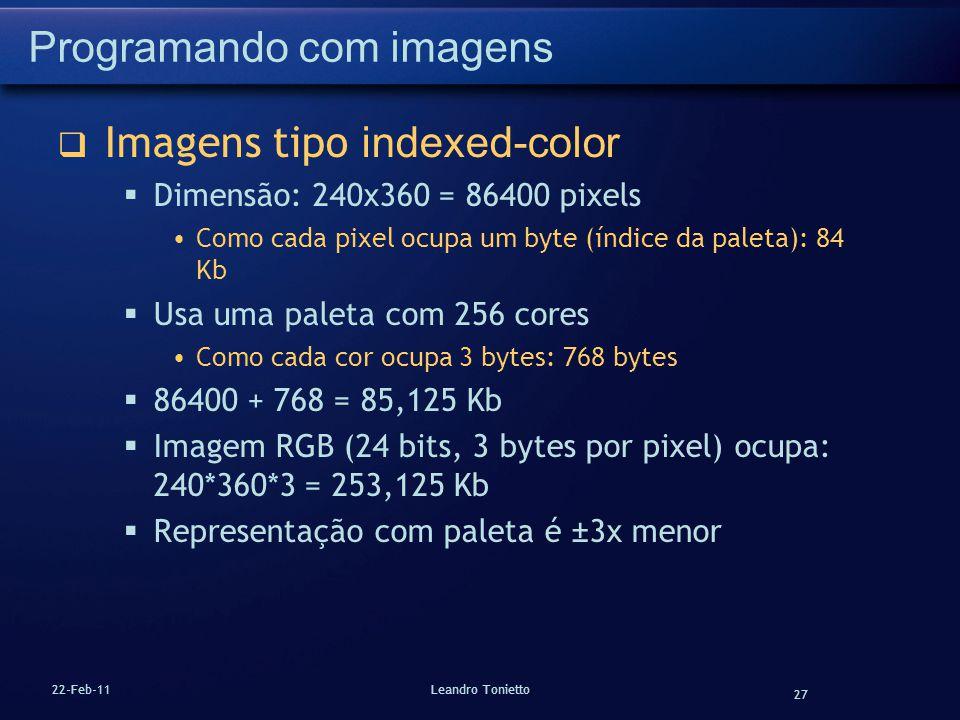 27 22-Feb-11Leandro Tonietto Programando com imagens Imagens tipo indexed-color Dimensão: 240x360 = 86400 pixels Como cada pixel ocupa um byte (índice
