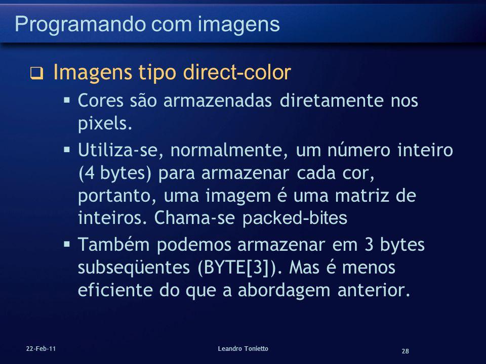 28 22-Feb-11Leandro Tonietto Programando com imagens Imagens tipo direct-color Cores são armazenadas diretamente nos pixels. Utiliza-se, normalmente,