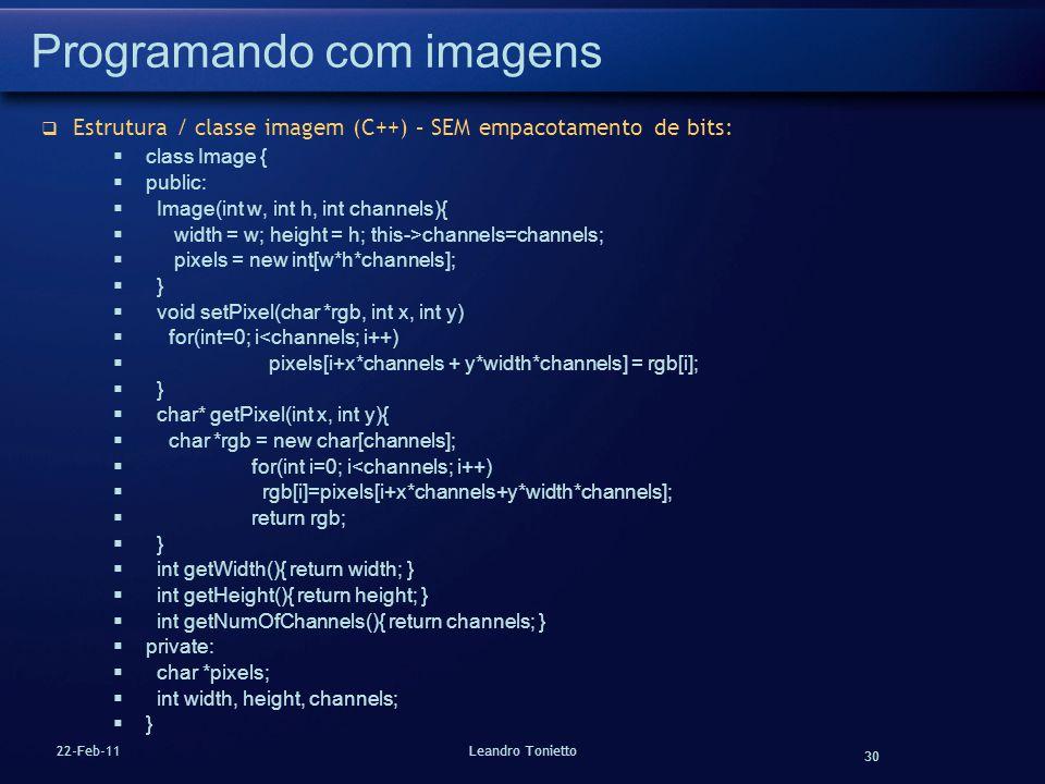 30 22-Feb-11Leandro Tonietto Programando com imagens Estrutura / classe imagem (C++) – SEM empacotamento de bits: class Image { public: Image(int w, i