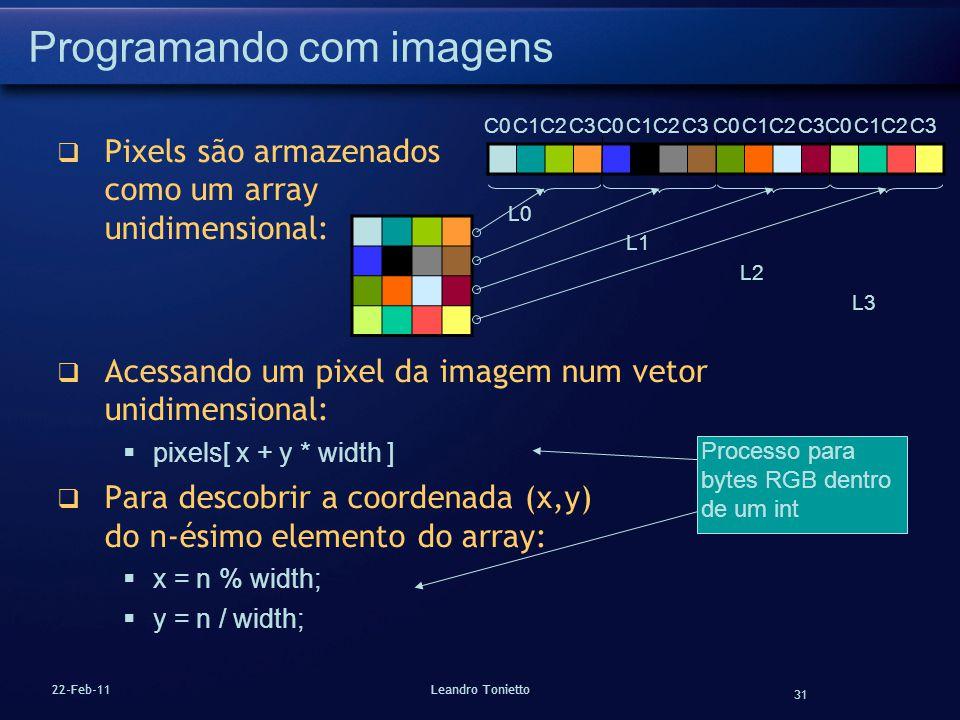 31 22-Feb-11Leandro Tonietto Programando com imagens Pixels são armazenados como um array unidimensional: Acessando um pixel da imagem num vetor unidi