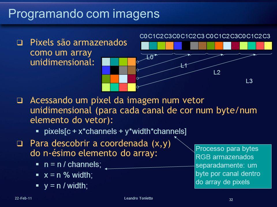 32 22-Feb-11Leandro Tonietto Programando com imagens Pixels são armazenados como um array unidimensional: Acessando um pixel da imagem num vetor unidi
