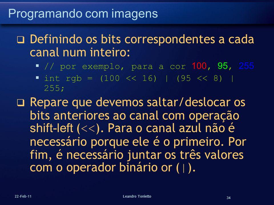 34 22-Feb-11Leandro Tonietto Programando com imagens Definindo os bits correspondentes a cada canal num inteiro: // por exemplo, para a cor 100, 95, 2