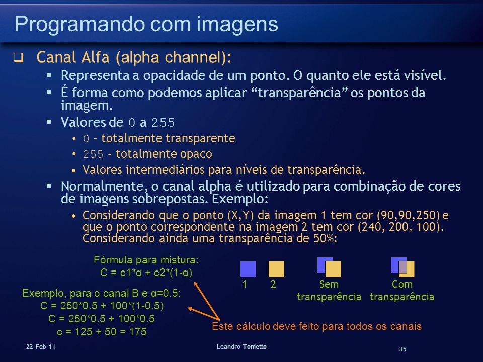 35 22-Feb-11Leandro Tonietto Programando com imagens Canal Alfa ( alpha channel ): Representa a opacidade de um ponto. O quanto ele está visível. É fo