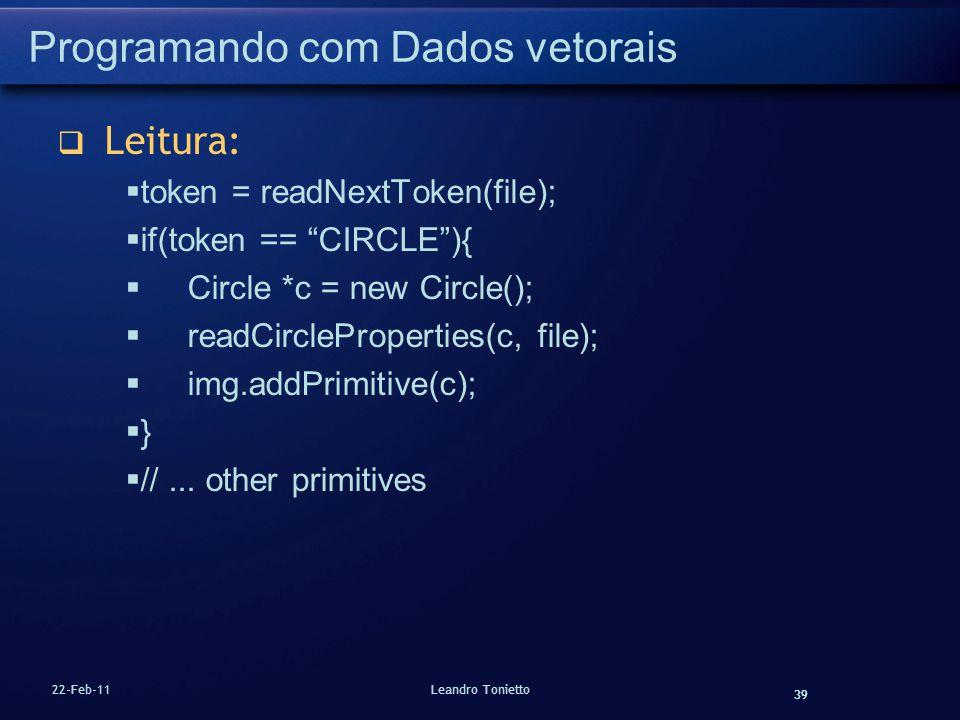 39 22-Feb-11Leandro Tonietto Programando com Dados vetorais Leitura: token = readNextToken(file); if(token == CIRCLE){ Circle *c = new Circle(); readC