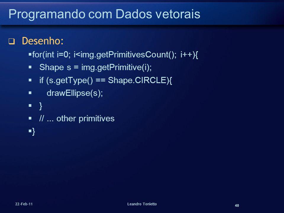 40 22-Feb-11Leandro Tonietto Programando com Dados vetorais Desenho: for(int i=0; i<img.getPrimitivesCount(); i++){ Shape s = img.getPrimitive(i); if