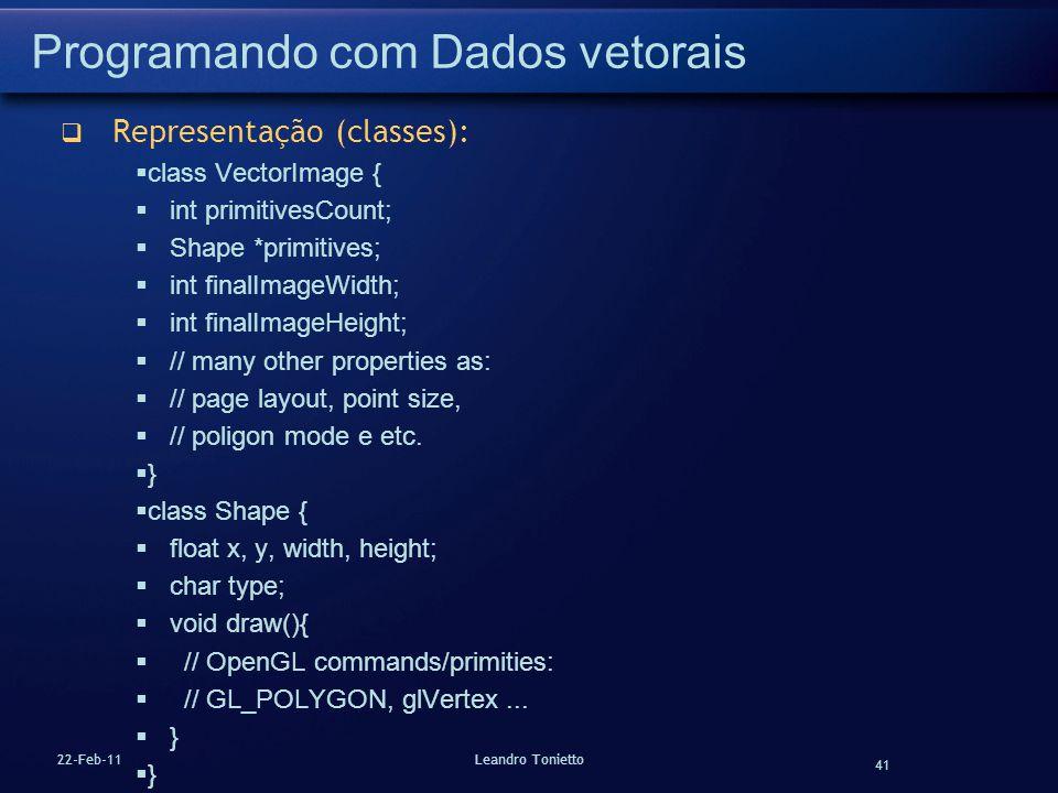 41 22-Feb-11Leandro Tonietto Programando com Dados vetorais Representação (classes): class VectorImage { int primitivesCount; Shape *primitives; int f
