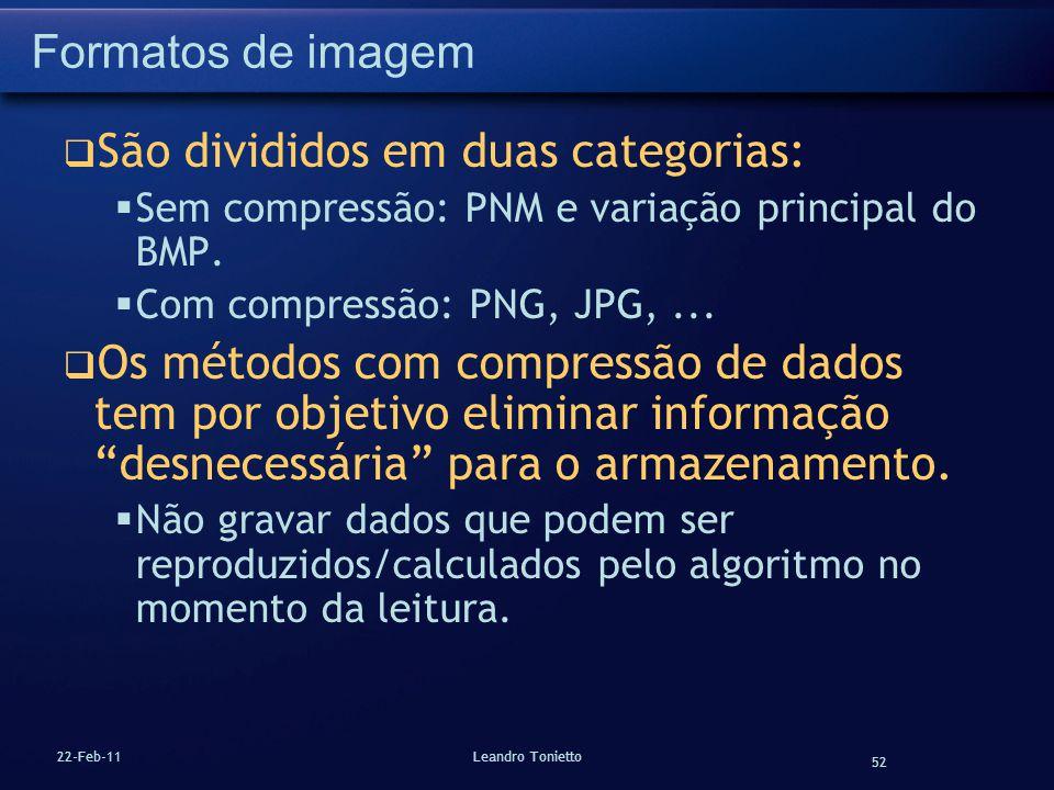 52 22-Feb-11Leandro Tonietto Formatos de imagem São divididos em duas categorias: Sem compressão: PNM e variação principal do BMP. Com compressão: PNG