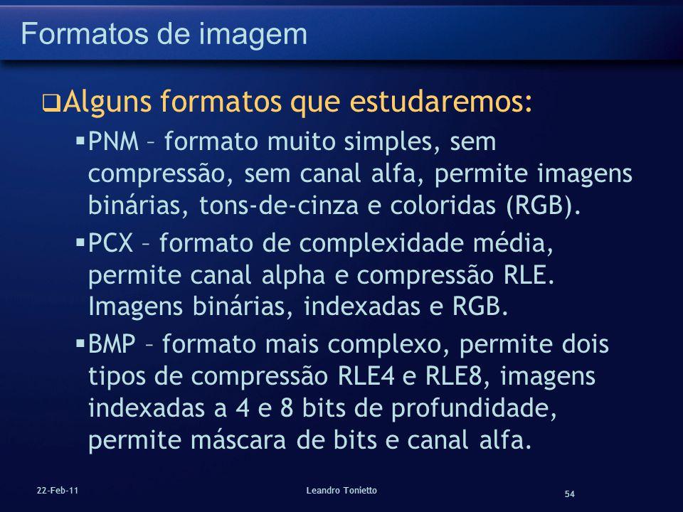 54 22-Feb-11Leandro Tonietto Formatos de imagem Alguns formatos que estudaremos: PNM – formato muito simples, sem compressão, sem canal alfa, permite