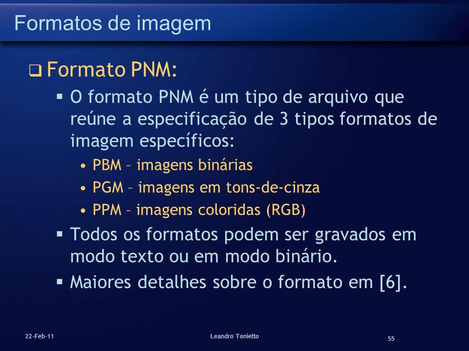 55 22-Feb-11Leandro Tonietto Formatos de imagem Formato PNM: O formato PNM é um tipo de arquivo que reúne a especificação de 3 tipos formatos de image