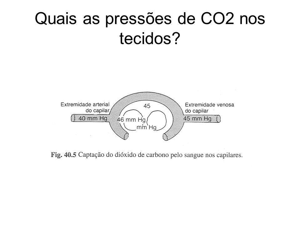 Quais as pressões de CO2 nos tecidos?