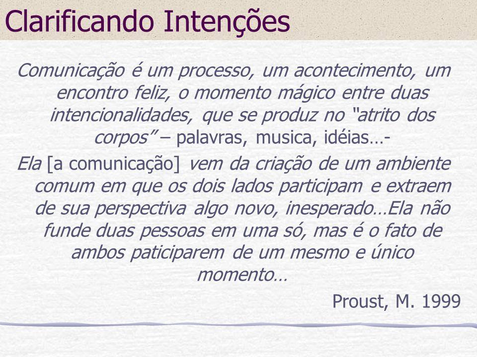 Clarificando Intenções Comunicação é um processo, um acontecimento, um encontro feliz, o momento mágico entre duas intencionalidades, que se produz no