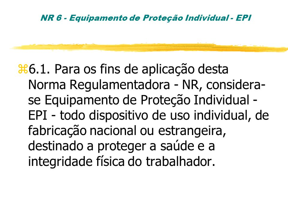 NR 6 - Equipamento de Proteção Individual - EPI z6.1.