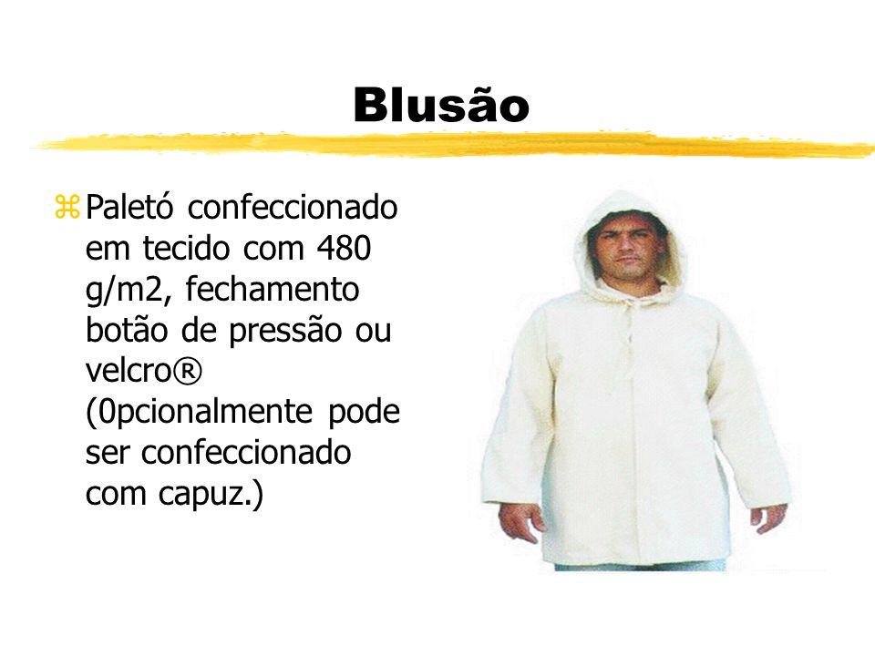 Blusão zPaletó confeccionado em tecido com 480 g/m2, fechamento botão de pressão ou velcro® (0pcionalmente pode ser confeccionado com capuz.)
