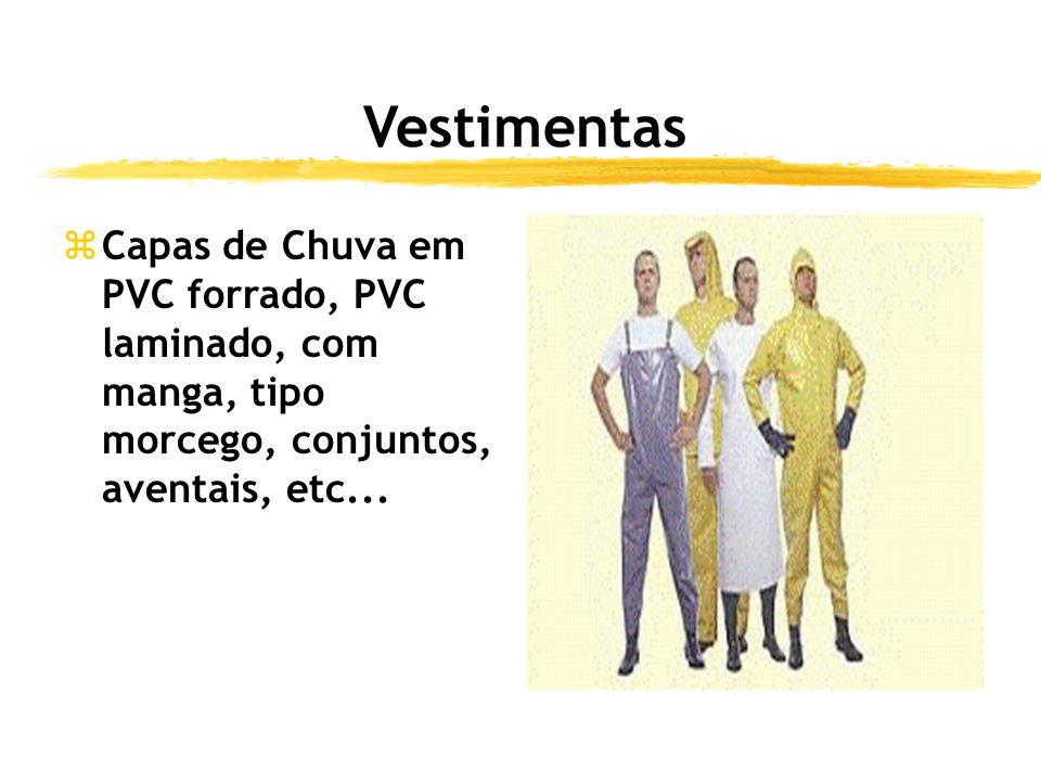 Vestimentas zCapas de Chuva em PVC forrado, PVC laminado, com manga, tipo morcego, conjuntos, aventais, etc...