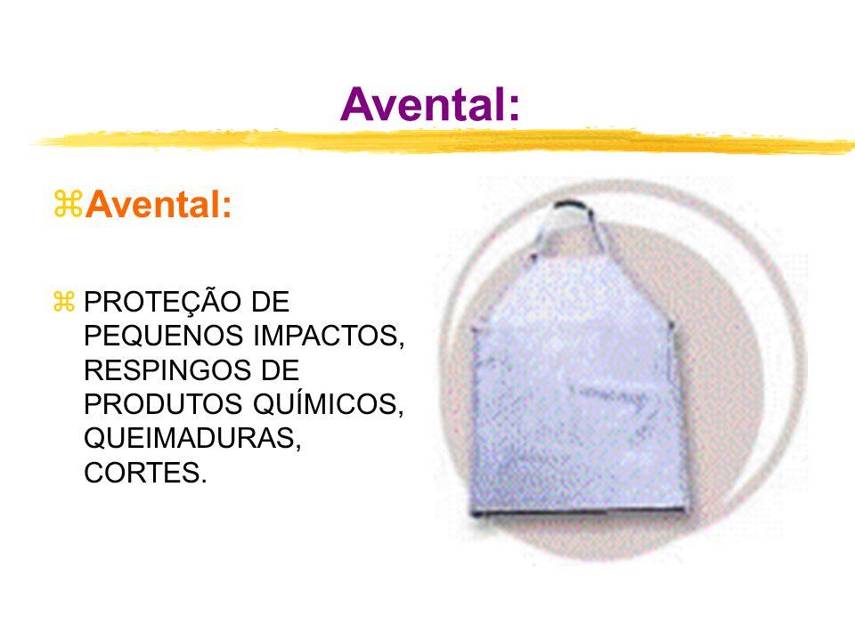 Avental: zAvental: zPROTEÇÃO DE PEQUENOS IMPACTOS, RESPINGOS DE PRODUTOS QUÍMICOS, QUEIMADURAS, CORTES.