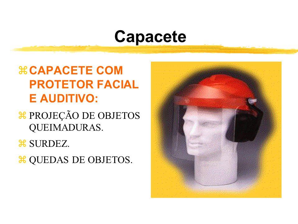 Capacete zCAPACETE COM PROTETOR FACIAL E AUDITIVO: zPROJEÇÃO DE OBJETOS QUEIMADURAS.