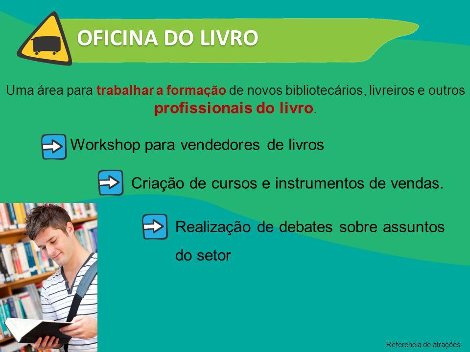 OFICINA DO LIVRO Uma área para trabalhar a formação de novos bibliotecários, livreiros e outros profissionais do livro. Workshop para vendedores de li