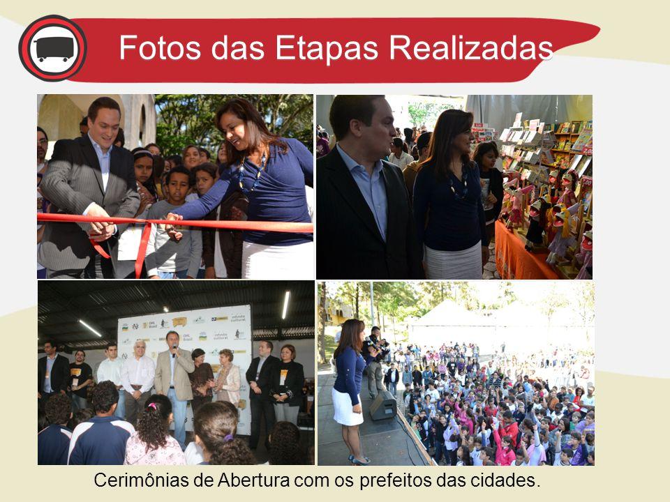 Fotos das Etapas Realizadas Cerimônias de Abertura com os prefeitos das cidades.