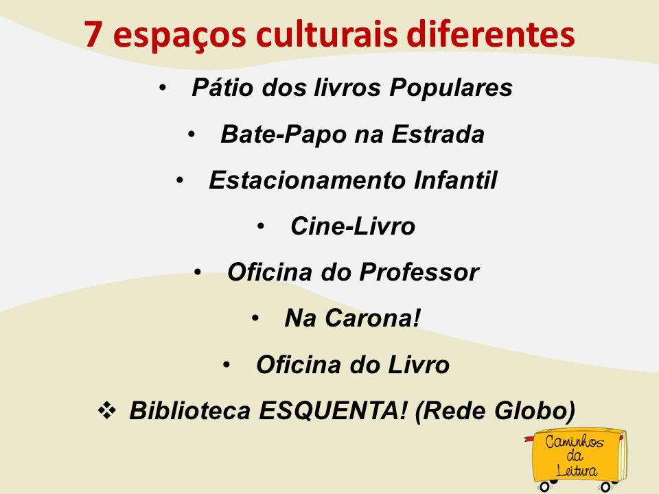 7 espaços culturais diferentes Pátio dos livros Populares Bate-Papo na Estrada Estacionamento Infantil Cine-Livro Oficina do Professor Na Carona! Ofic