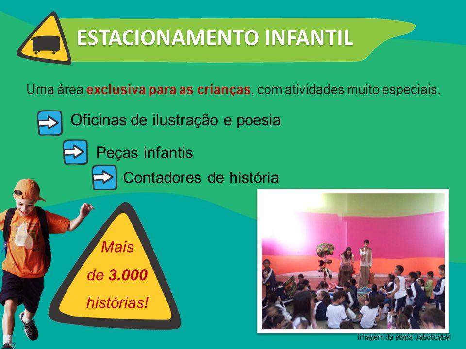 Contadores de história ESTACIONAMENTO INFANTIL Peças infantis Oficinas de ilustração e poesia Mais de 3.000 histórias! Uma área exclusiva para as cria