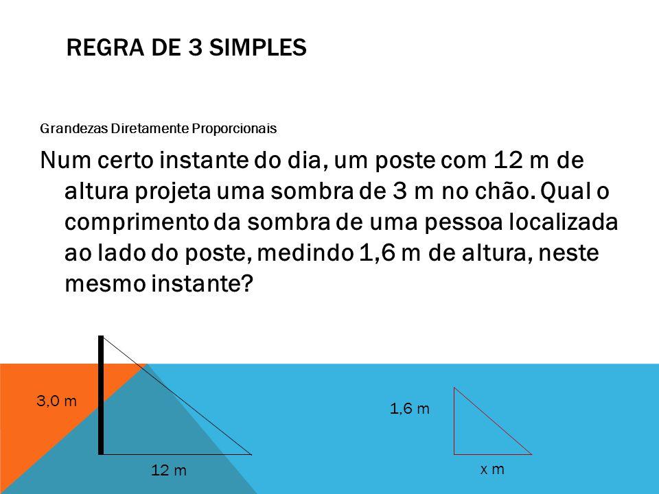 REGRA DE 3 SIMPLES Grandezas Diretamente Proporcionais Num certo instante do dia, um poste com 12 m de altura projeta uma sombra de 3 m no chão. Qual