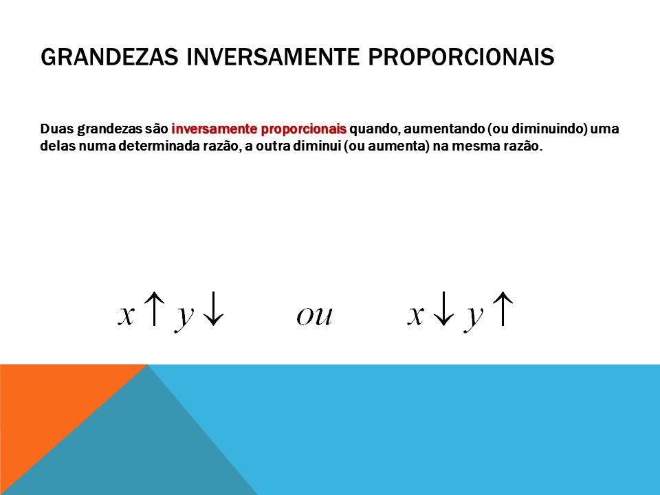 GRANDEZAS INVERSAMENTE PROPORCIONAIS inversamente proporcionais Duas grandezas são inversamente proporcionais quando, aumentando (ou diminuindo) uma d