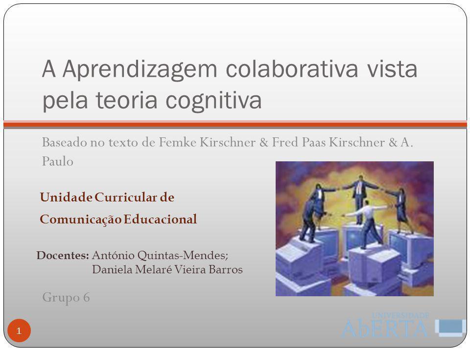 A Aprendizagem colaborativa vista pela teoria cognitiva Baseado no texto de Femke Kirschner & Fred Paas Kirschner & A. Paulo Grupo 6 1 Docentes: Antón
