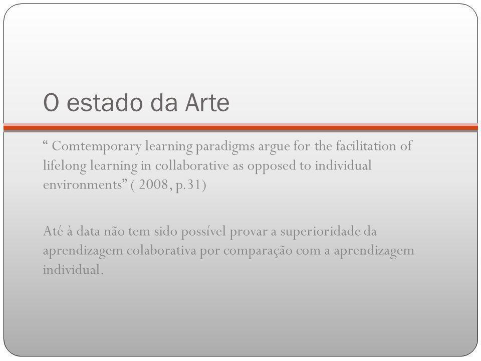 O estado da Arte Comtemporary learning paradigms argue for the facilitation of lifelong learning in collaborative as opposed to individual environment