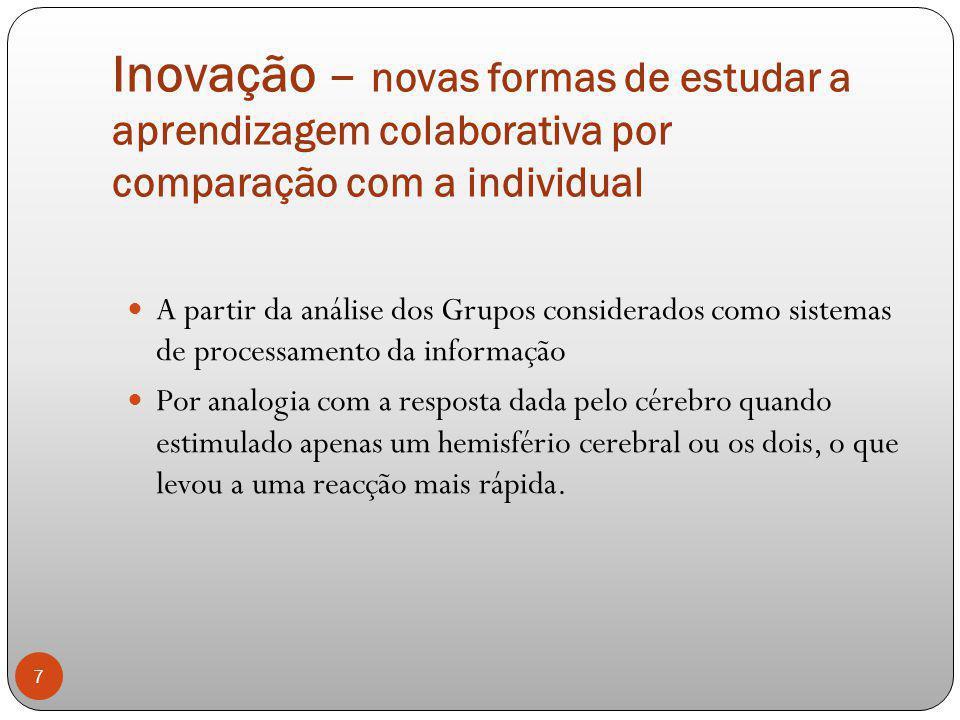 Inovação – novas formas de estudar a aprendizagem colaborativa por comparação com a individual A partir da análise dos Grupos considerados como sistem