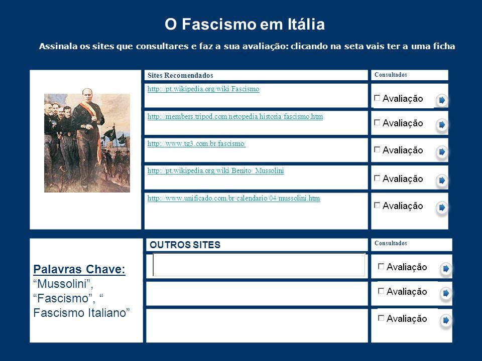 O Fascismo em Itália Assinala os sites que consultares e faz a sua avaliação: clicando na seta vais ter a uma ficha de avaliação. Faz gravar como e dá