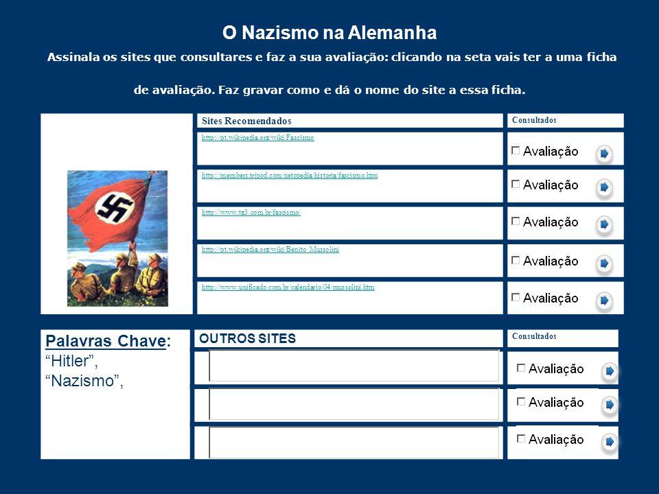 O Nazismo na Alemanha Assinala os sites que consultares e faz a sua avaliação: clicando na seta vais ter a uma ficha de avaliação. Faz gravar como e d