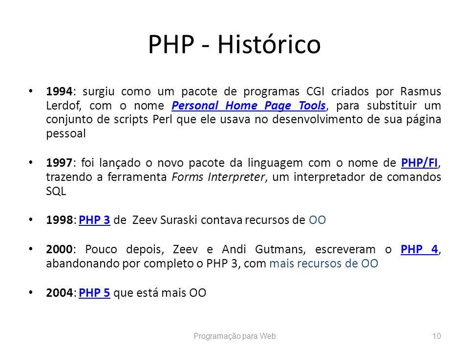 PHP - Histórico 1994: surgiu como um pacote de programas CGI criados por Rasmus Lerdof, com o nome Personal Home Page Tools, para substituir um conjun