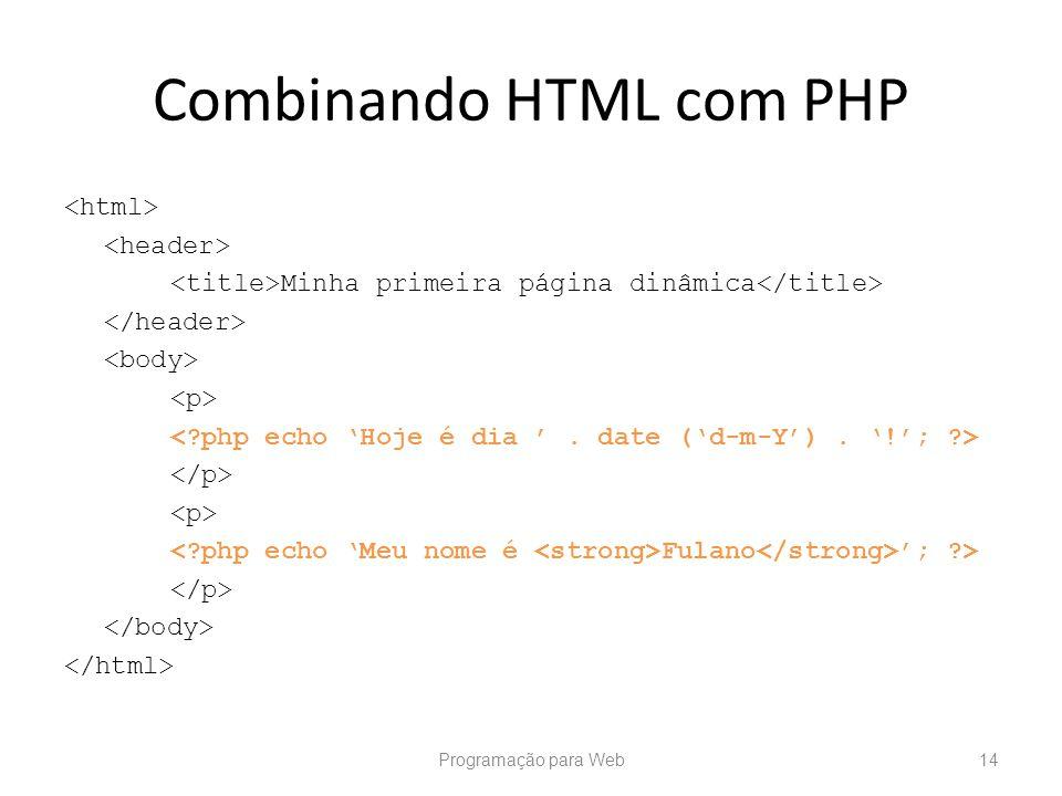 Combinando HTML com PHP Minha primeira página dinâmica Fulano ; ?> Programação para Web14