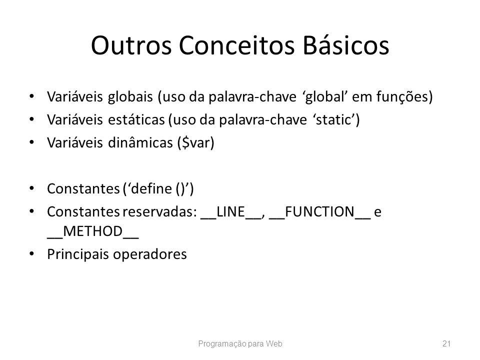 Outros Conceitos Básicos Variáveis globais (uso da palavra-chave global em funções) Variáveis estáticas (uso da palavra-chave static) Variáveis dinâmi