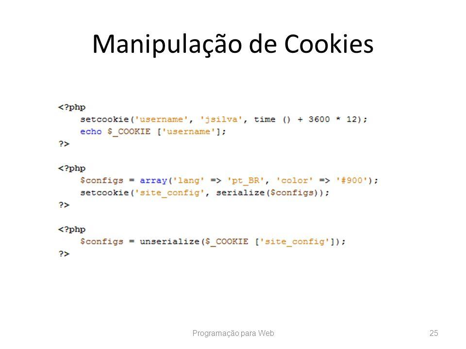 Manipulação de Cookies Programação para Web25