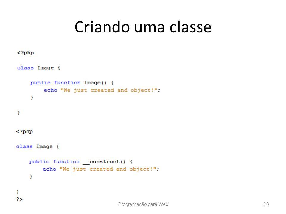 Criando uma classe Programação para Web28