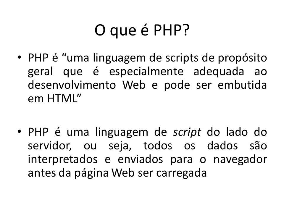 PHP é uma linguagem de scripts de propósito geral que é especialmente adequada ao desenvolvimento Web e pode ser embutida em HTML PHP é uma linguagem