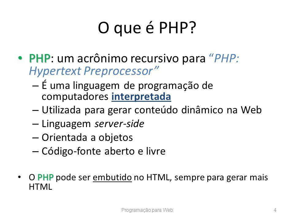 PHP PHP: um acrônimo recursivo para PHP: Hypertext Preprocessor – É uma linguagem de programação de computadores interpretada – Utilizada para gerar c