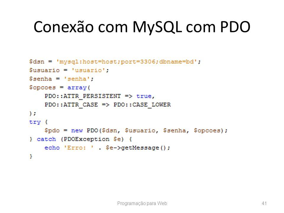 Conexão com MySQL com PDO Programação para Web41
