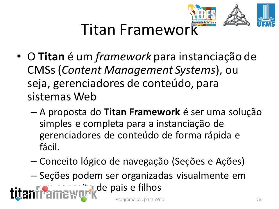 O Titan é um framework para instanciação de CMSs (Content Management Systems), ou seja, gerenciadores de conteúdo, para sistemas Web – A proposta do T
