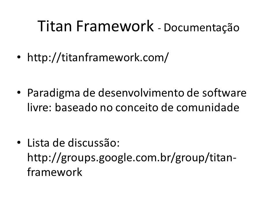 Titan Framework - Documentação http://titanframework.com/ Paradigma de desenvolvimento de software livre: baseado no conceito de comunidade Lista de d