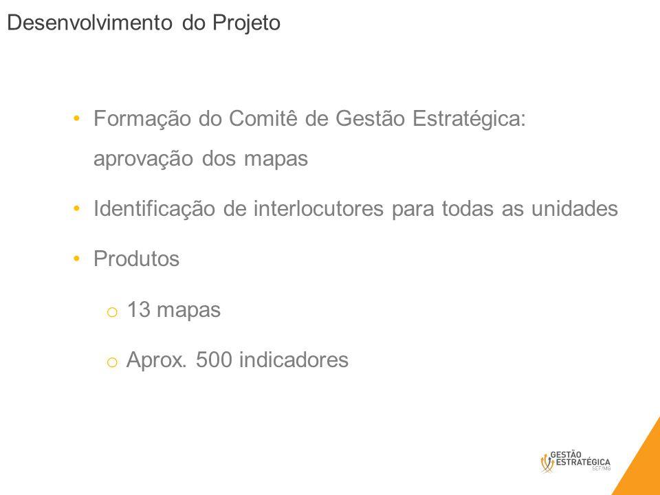 Desenvolvimento do Projeto Formação do Comitê de Gestão Estratégica: aprovação dos mapas Identificação de interlocutores para todas as unidades Produt