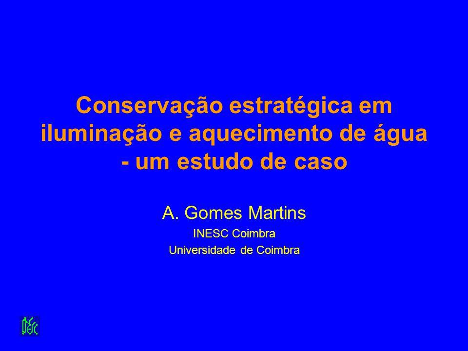 Conservação estratégica em iluminação e aquecimento de água - um estudo de caso A. Gomes Martins INESC Coimbra Universidade de Coimbra